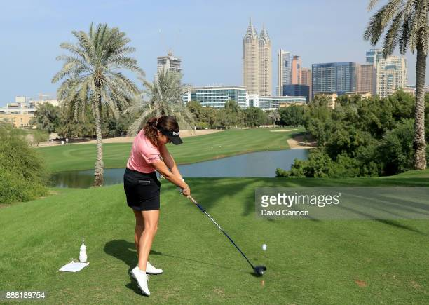 Georgia Hall of England plays her tee shot on the par 4 second hole during the third round of the 2017 Dubai Ladies Classic on the Majlis Course at...