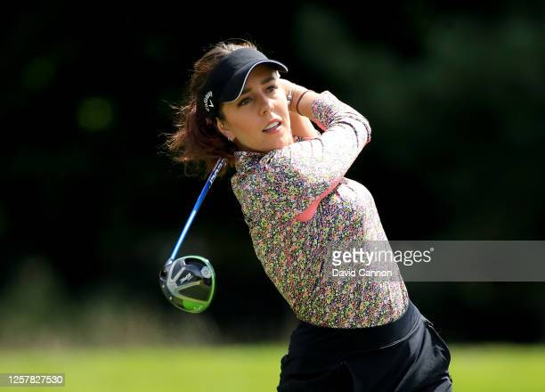 Georgia Hall of England plays her tee shot on the second hole during The Rose Ladies Series at Bearwood Lakes on July 23, 2020 in Wokingham, England.