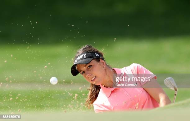 Georgia Hall of England plays her third shot on the par 4 first hole during the third round of the 2017 Dubai Ladies Classic on the Majlis Course at...
