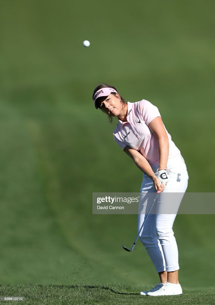 Georgia Hall of England plays her third shot on the par 5, second hole during the first round of the 2018 ANA Inspiration on the Dinah Shore Tournament Course at Mission Hills Country Club on March 29, 2018 in Rancho Mirage, California.