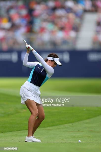 Georgia Hall of England plays into the 18th green during the third round of the AIG Women's British Open at Woburn Golf Club on August 03 2019 in...