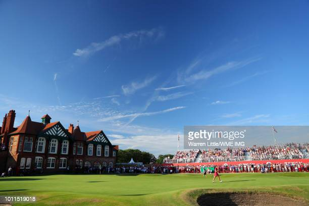 Georgia Hall of England reacts on the 18th green during the final round of the Ricoh Women's British Open at Royal Lytham St Annes on August 5 2018...