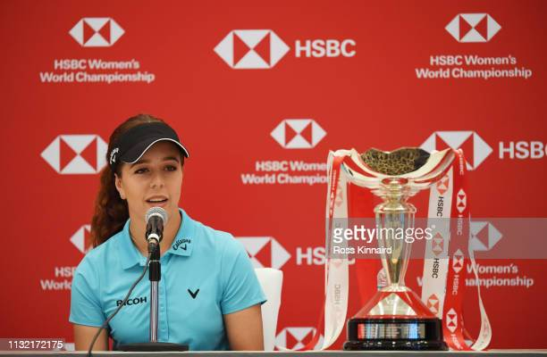 Georgia Hall of England speaks to the media during a press conference prior to the HSBC Women's World Championship at Sentosa Golf Club on February...