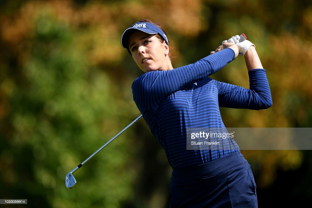 Georgia Hall of England tees off during day two of the Evian Championship at Evian Resort Golf Club on September 14, 2018 in Evian-les-Bains, France.