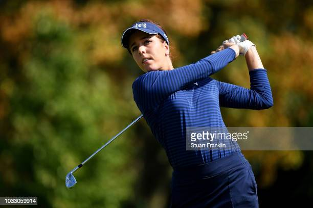 Georgia Hall of England tees off during day two of the Evian Championship at Evian Resort Golf Club on September 14 2018 in EvianlesBains France