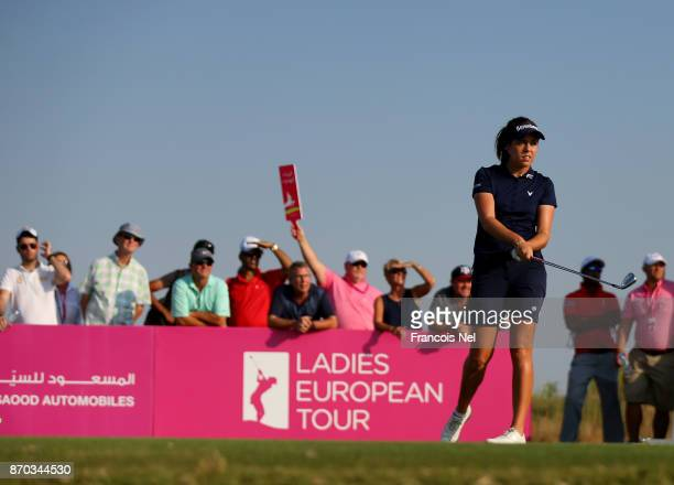Georgia Hall of England tees off on the 17th hole during Day Four of the Fatima Bint Mubarak Ladies Open at Saadiyat Beach Golf Club on November 4...