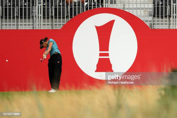 Georgia Hall of England tees off on the 1st hole during day two of Ricoh Women's British Open at Royal Lytham St Annes on August 3 2018 in Lytham St...