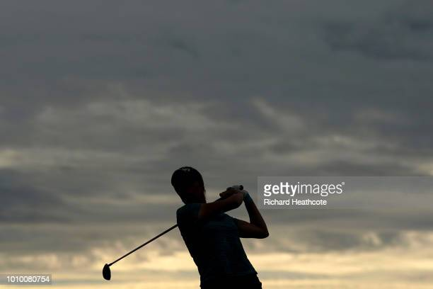 Georgia Hall of England tees off on the 4th hole during day two of Ricoh Women's British Open at Royal Lytham St Annes on August 3 2018 in Lytham St...