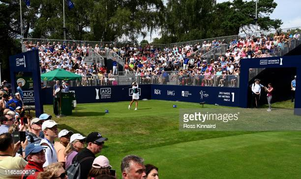 Georgia Hall of England tees off on the first hole during the third round of the AIG Women's British Open at Woburn Golf Club on August 03 2019 in...