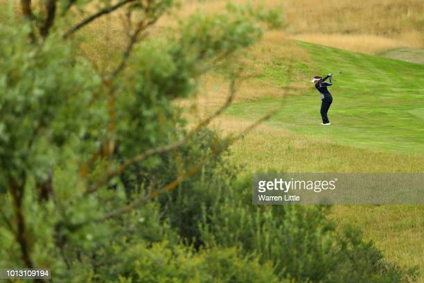 Georgia Hall of Great Britain takes her second shot on hole nine during match 1 of Group A during day one of the European Golf Team Championships at...