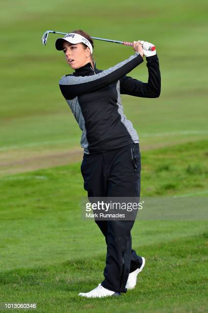 Georgia Hall of Great Britain takes her second shot on hole one during match 1 of Group A during day one of the European Golf Team Championships at...