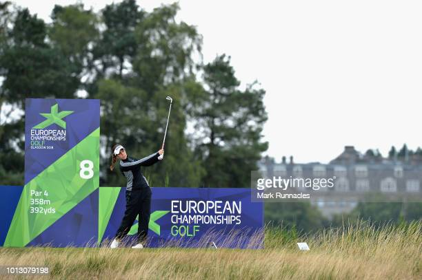 Georgia Hall of Great Britain takes her tee shot shot on hole eight during match 1 of Group A during day one of the European Golf Team Championships...