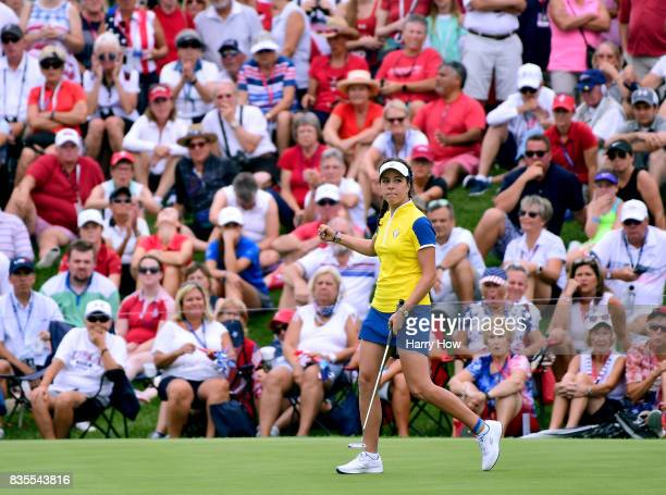 Georgia Hall of Team Europe reacts to her putt for a two and one victory over Team USA during the morning foursomes matches of the Solheim Cup at the...