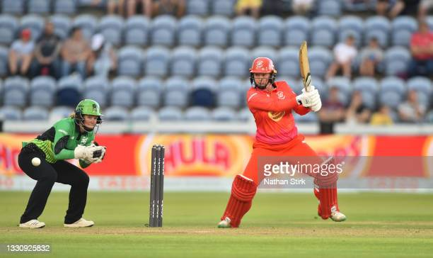 Georgia Hennessy of Welsh Fire Women bats during The Hundred match between Welsh Fire Women and Southern Brave Women at Sophia Gardens on July 27,...