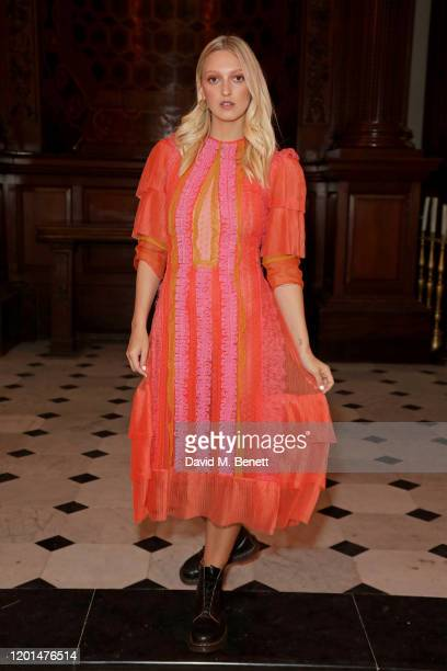 Georgia Hirst attends the BORA AKSU show during London Fashion Week February 2020 at St George's Bloomsbury on February 17 2020 in London England