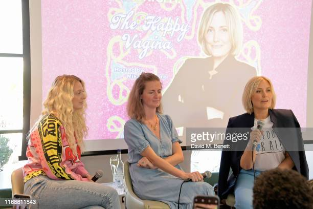 Georgia Hirst Chloe Delevingne and Mika Simmons attend a live recording of Mika Simmons' new podcast The Happy Vagina at The AllBright Mayfair on...