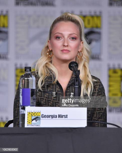 Georgia Hirst speaks onstage at History's Vikings panel during ComicCon International 2018 at San Diego Convention Center on July 20 2018 in San...