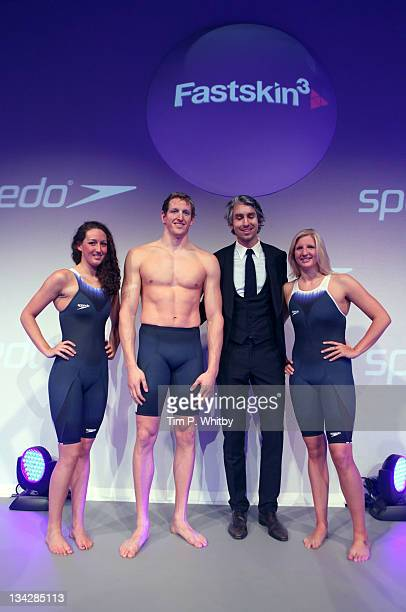 Georgia Hohmann Adam Brown George Lamb and Rebecca Adlington pose for a picture during the Speedo Fashion Show and Fastskin3 Racing System Launch at...