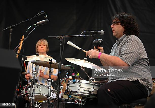 Georgia Hubley and James McNew of Yo La Tengo perform during the 2009 Pitchfork Music Festival at Union Park on July 17 2009 in Chicago Illinois
