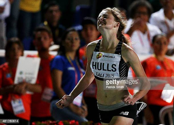 Georgia Hulls of New Zealand runs by herself during the Girls 200 Meters Semi Final on day four of the IAAF World Youth Championships Cali 2015 on...