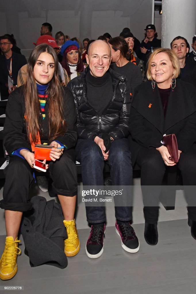 Georgia Jones, Dylan Jones and Jane Boardman attend the Christopher Raeburn show during London Fashion Week Men's January 2018 at BFC Show Space on January 7, 2018 in London, England.
