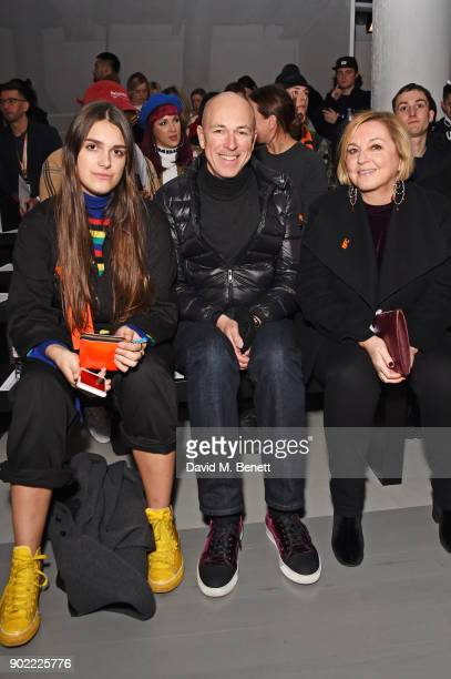 Georgia Jones Dylan Jones and Jane Boardman attend the Christopher Raeburn show during London Fashion Week Men's January 2018 at BFC Show Space on...