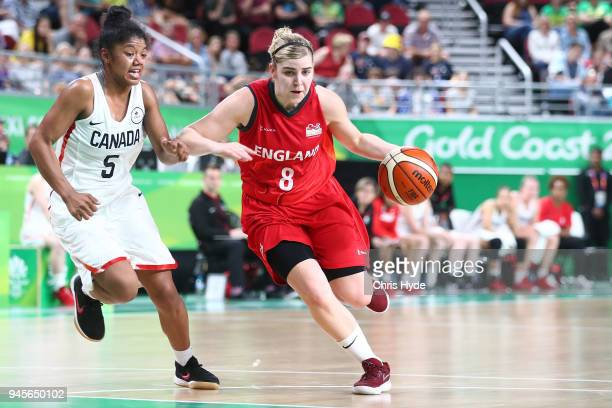 Georgia Jones of England drives to the basket during the Women's Semifinal Basketball match between Canada and England on day nine of the Gold Coast...