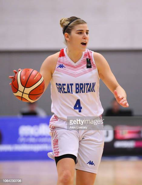 Georgia Jones of Great Britain during the FIBA Women's Eurobasket Group D qualifying match between Great Britain and Portugal at the Belle Vue Sports...