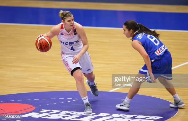 Georgia Jones of Great Britain takes on Pinelopi Pavlopoulou of Greece during the FIBA Women's Eurobasket 2019 Qualifier match between Great Britain...