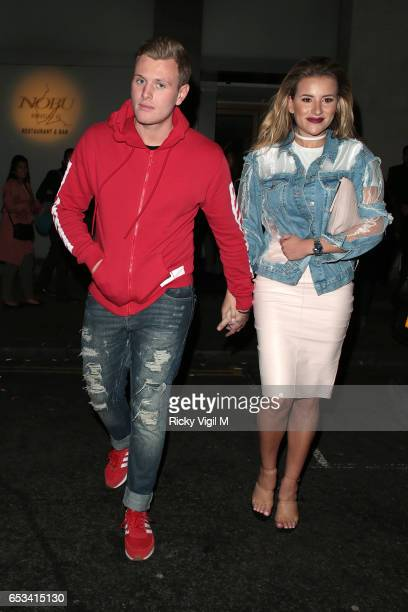 Georgia Kousoulou and Tommy Mallet on a night out leaving Nobu Berkeley St restaurant on March 14 2017 in London England