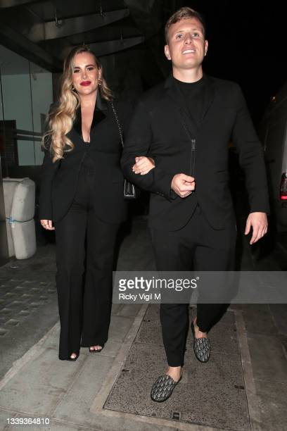 Georgia Kousoulou and Tommy Mallet seen attending National Television Awards 2021 afterparty at Bagatelle in Mayfair on September 09, 2021 in London,...