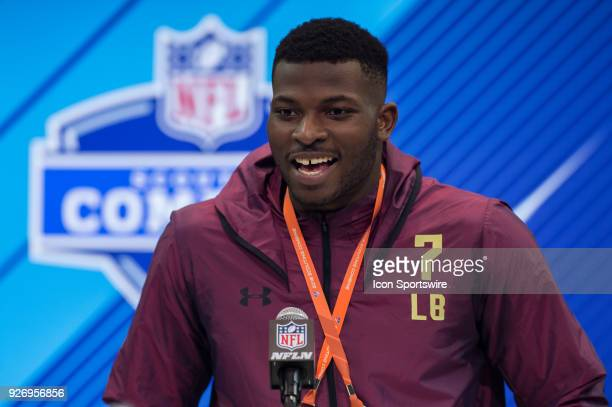 Georgia linebacker Lorenzo Carter answers questions from the media during the NFL Scouting Combine on March 3 2018 at the Indiana Convention Center...