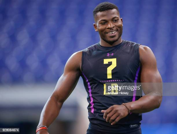 Georgia linebacker Lorenzo Carter is seen during the NFL Scouting Combine at Lucas Oil Stadium on March 2018 in Indianapolis Indiana