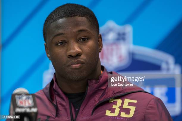 Georgia linebacker Roquan Smith answers questions from the media during the NFL Scouting Combine on March 3 2018 at the Indiana Convention Center in...