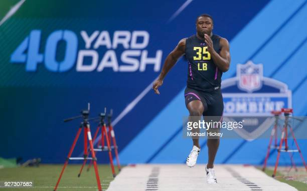Georgia linebacker Roquan Smith runs in the 40 yard dash during the NFL Scouting Combine at Lucas Oil Stadium on March 4 2018 in Indianapolis Indiana