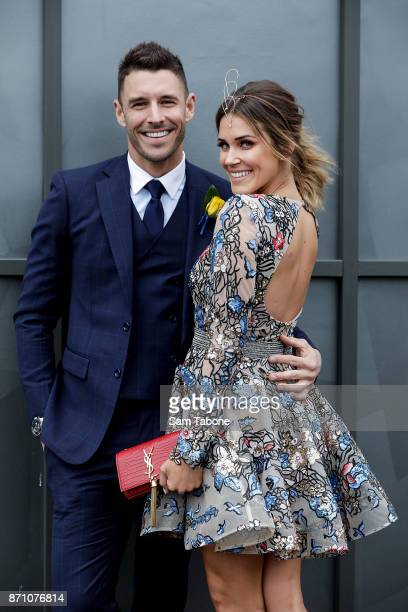 Georgia Love and Lee Elliiott poses on Melbourne Cup Day at Flemington Racecourse on November 7 2017 in Melbourne Australia