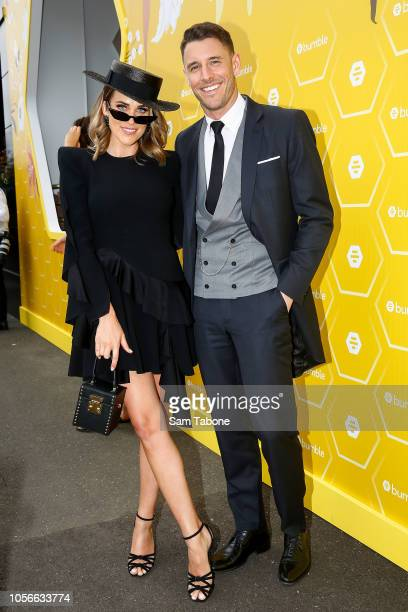 Georgia Love and Lee Elliot pose at the Bumble Marquee on Derby Day at Flemington Racecourse on November 3 2018 in Melbourne Australia