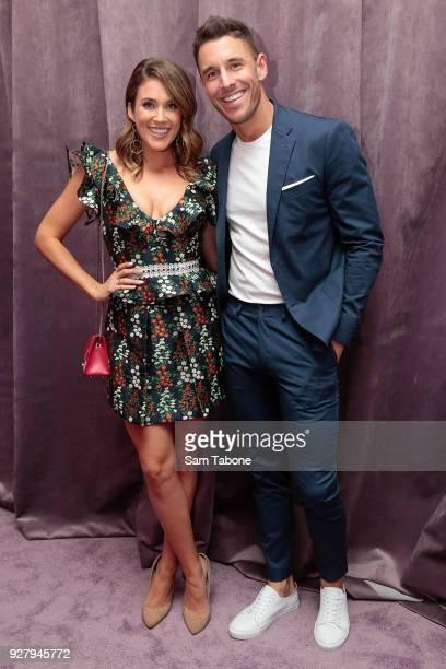 Georgia Love and Lee Elliott arrive ahead of the VAMFF 2018 Runway 2 presented by Elle Australia on March 6 2018 in Melbourne Australia