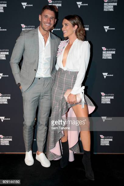 Georgia Love and Lee Elliott arrives ahead of the VAMFF 2018 Virgin Australila Grand Showcase presented by marie claire on March 8 2018 in Melbourne...