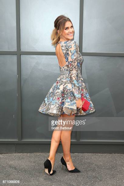 Georgia Love poses on Melbourne Cup Day at Flemington Racecourse on November 7 2017 in Melbourne Australia