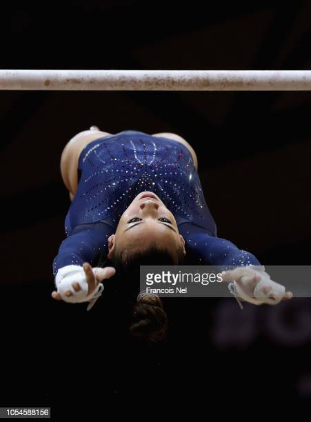 Georgia Mae Fenton of Great Britain competes in the Women's Uneven Bar Qualification during day four of the 2018 FIG Artistic Gymnastics...
