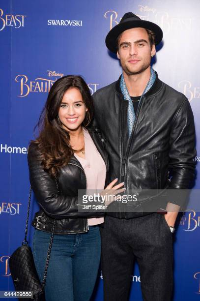 Georgia May Foote and George Alsford attend the UK Launch Event of 'Beauty And The Beast' at Odeon Leicester Square on February 23 2017 in London...