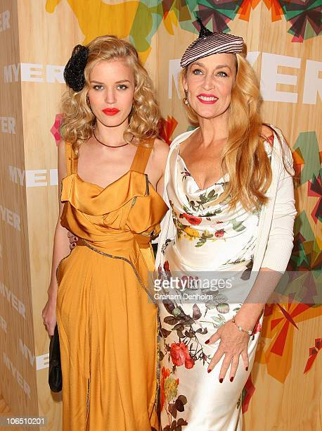 Georgia May Jagger and her mother Jerry Hall arrive at Crown Oaks Day at Flemington Racecourse on November 4, 2010 in Melbourne, Australia.