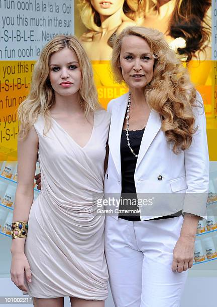 Georgia May Jagger and Jerry Hall attend a photocall to launch Invisible Zinc suncare range at Selfridges on May 27 2010 in London England