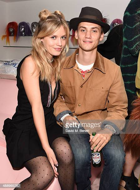 Georgia May Jagger and Josh Ludlow attend the Bleach 5th birthday party introducing their new Berwick Street Salon during London Fashion Week SS16 on...