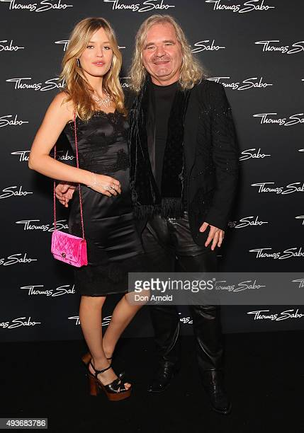 Georgia May Jagger and Thomas Sabo arrive ahead of the Thomas Sabo 10 Year Celebration Cocktail Party at Zeta Bar on October 22 2015 in Sydney...