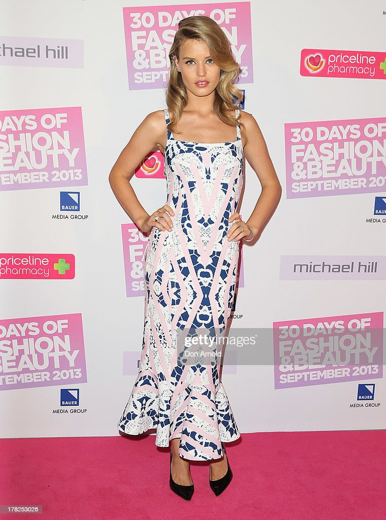 Georgia May Jagger arrives at the 30 Days of Fashion and Beauty launch party at Town Hall on August 28, 2013 in Sydney, Australia.