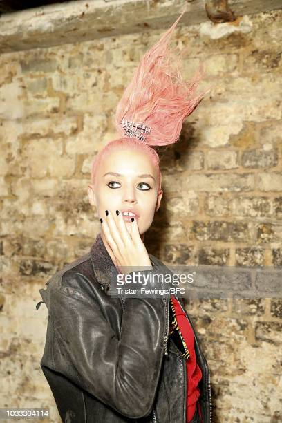 Georgia May Jagger backstage ahead of the Ashley Williams presentation during London Fashion Week September 2018 at the House of Vans on September 14...