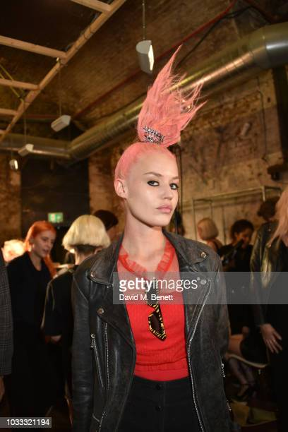 Georgia May Jagger backstage at the Ashley Williams show during London Fashion Week September 2018 at House of Vans on September 14 2018 in London...