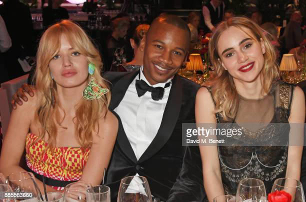 Georgia May Jagger Eric Underwood and Suki Waterhouse attend a drinks reception ahead of The Fashion Awards 2017 in partnership with Swarovski at...